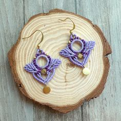 • 100% handmade • Materials: waxed cord, brass components - The thread is very durable, it does not loose its color - It is 100% washable. - No glue is used. - as each earring is handmade, there may be very minor differences to the piece you receive compared to what is pictured