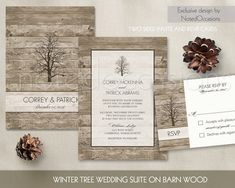 Rustic wedding invitationsuite for fall and winter weddings with a rustic theme.