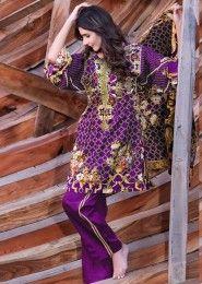 Casual Wear Purple Pashmina Printed Straight Suit