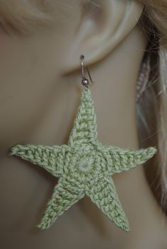 Starfish Earring. Simple yet elegant, Starfish Earrings can be worn with any outfit for any occasion. This simple star was crochet using hand-dyed crochet thread in most colors.  Original design Crocheted in a clean smoke-free studio And of course the main ingredient is positive vibes