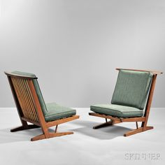 Two George Nakashima (1905-1990) Conoid Lounge Chairs, New Hope, Pennsylvania, 1981. | Auction 2912M | Lot 395 | Sold for $28,290