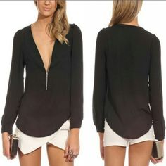 Low cut with gold zipper black blouse Gold zipper can go down or zip up for how much you want to flaunt :) white buttons long sleeves Tops Blouses