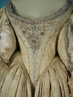 1998 The Man In The Iron Mask MGM/UA Movie Costume In the Style of c. 1670 French Fashion! Screen-worn Off-the-Shoulder Trained Gown! Movie Starred Leonardo DiCaprio and Worn by Judith Godreche