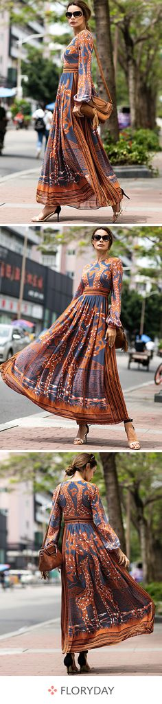 Chiffon Floral Long Sleeve Maxi A-line Dress, chiffon dress, dresses, floral dre. Look Fashion, Autumn Fashion, Womens Fashion, Fashion Trends, Fashion Week, Fashion Styles, Street Fashion, African Fashion, Indian Fashion