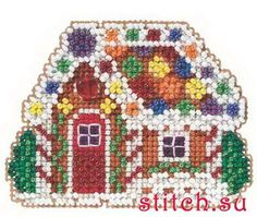 Mill Hill Winter Holiday collection Gingerbread Cottage Christmas Ornament counted cross stitch kit with treasure Beaded Cross Stitch, Counted Cross Stitch Kits, Cross Stitch Embroidery, Cross Stitch Patterns, Peyote Stitch, Cross Stitch Christmas Ornaments, Christmas Cross, Cottage Christmas, Christmas Embroidery