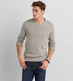 American Eagle Solid V-Neck Sweater, Men's, Hazelnut Marl Sweater Hoodie, Men Sweater, Boy Fashion, Mens Fashion, Winter Fashion, American Eagle Men, Mens Outfitters, Aeo, Casual Outfits