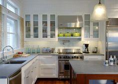 large glass tile backsplash-Tidal Marsh - modern - kitchen - boston - Siemasko + Verbridge
