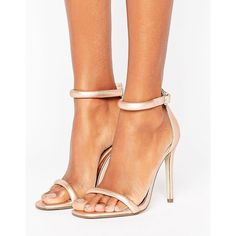 Missguided Rounded Strap Barely There Heeled Sandal Rose Gold (€27) ❤ liked on Polyvore featuring shoes, sandals, pink, rose gold heeled sandals, high heel sandals, open toe heel sandals, ankle strap sandals and pink sandals