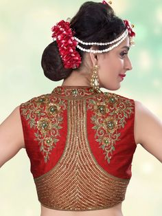Shop Wonder full red raw silk designer ready made blouse online from G3fashion India. Brand - G3, Product code - G3-RB0386, Price - 9095, Color - Red, Fabric - Raw Silk,