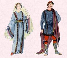 Early Clothing in Costume History - Saxon, Frankish and Anglo Saxon Costume 500-1000AD