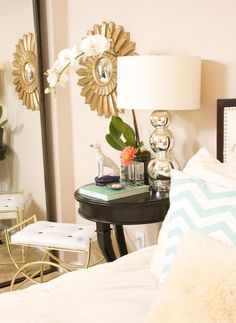 I love the soft gold and peach hues in this guest room.