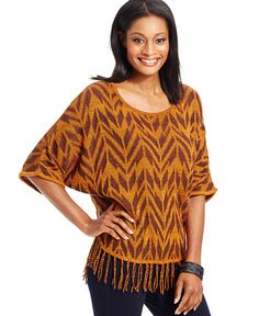 NY Collection Dolman-Sleeve Fringe-Trim Poncho Sweater
