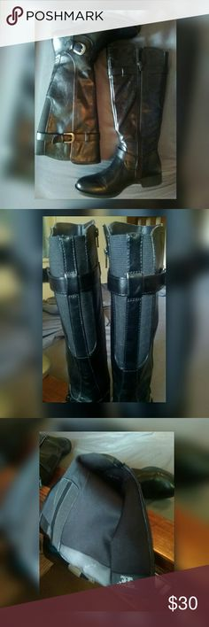 Black Knee High Boots ✅ All man made materials boots with elastic around calf for easy wear. ✅ Also has a side zipper. ✅ Two straps: one at ankle and one at calf with silver plated buckles. ✅ Size 6 (narrow) ✅ EUC. ✅ Only tried on inside. Shoes Over the Knee Boots