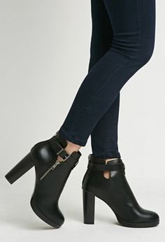 Faux Leather Ankle Booties   Forever 21   #stepitup