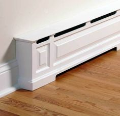 House Heating Made Pretty A baseboard heater is turned into room trim with a cover by OverBoards.A baseboard heater is turned into room trim with a cover by OverBoards. New Homes, Old House, Home Remodeling, Home, Home Diy, Baseboard Heater Covers, Baseboard Styles, House Heating, Home Decor