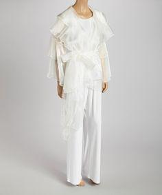 Look what I found on #zulily! Ivory Ruffle Organza Wrap Top - Women & Plus by 3K Fashion #zulilyfinds