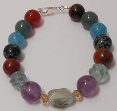 "Crystal Healing Power Gemstone Bracelet 8-1/2"" - .925 Sterling Silver - Protection and Health N1864 www.janodesigns.com"