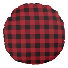 Buffalo Plaid Brushed Polyester Round Throw Pillow. See matching poufs and square pillows in my Zazzle shop! #buffaloplaid #plaidpillows