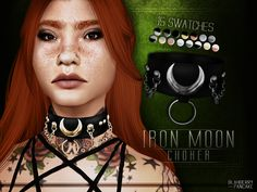 Iron Moon Choker by Blahberry Pancake for The Sims 4 Sims 4 Anime, Cross Choker, Sims 4 Dresses, Sims4 Clothes, Sims Four, Facial Piercings, The Sims 4 Download, Sims Community, Sims 4 Cc Finds