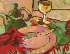 """Will It Be Tea or Wine?"" from 2009. by Marie Nagel - facebook.com/marienagelart marienagel.com"
