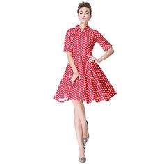 Heroecol Womens Vintage 50s 60s Swing Style Cotton Dresses Red with White XL ** Visit the image link more details.