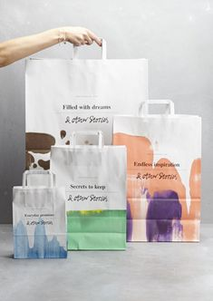 Other Stories branding, aquarelle paper bag. Packaging Box Design, Bag Packaging, Pretty Packaging, Branding Design, Guerilla Marketing, Packaging Inspiration, Shopping Bag Design, Paper Bag Design, Retail Bags
