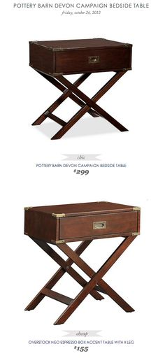 COPY CAT CHIC FIND: POTTERY BARN DEVON CAMPAIGN BEDSIDE TABLE VS OVERSTOCK NEO ESPRESSO BOX ACCENT TABLE WITH X LEG