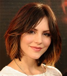 Katharine McPhee  Ombré hair color isn't just for long locks. Katharine McPhee's lightened tips are subtle and flattering.