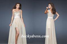 A-line One Shoulder Chiffon High Low Prom Dresses #USAZT011