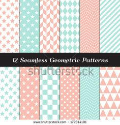 Pastel Mint and Coral Geometric Seamless Patterns. Soft Color Backgrounds in Diamond, Chevron, Polka Dot, Checkerboard, Stars, Triangles, Herringbone and Stripes. Pattern Swatches with Global Colors. - stock vector