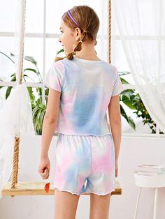 Conjunto de pijama de niñas ribete en forma de lechuga de tie dye | Moda de Mujer | SHEIN México Trendy Kids, Girls Shopping, Lettuce, Pajama Set, Lounge Wear, Tie Dye, Rompers, Clothes, Dresses