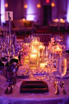 Modern Ivory Purple Silver Centerpieces Indoor Reception Place Settings Wedding Reception Photos & Pictures - WeddingWire.com