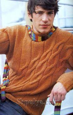 Оранжевый мужской пуловер с узором из наклонных кос