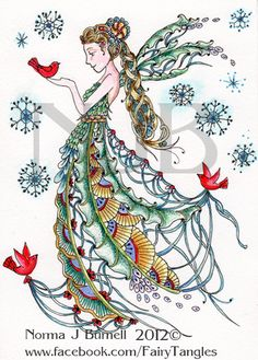 Fairy Tangles ~ Snow Fairy ~ by Norma J Burnell, Certified Zentangle Teacher Tangle Doodle, Tangle Art, Doodles Zentangles, Zen Doodle, Doodle Art, Doodle Patterns, Zentangle Patterns, Snow Fairy, Winter Fairy