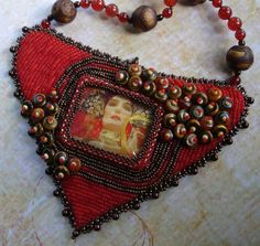 Beaded Embroidery Necklace  Determination by justbrez on Etsy, $68.00