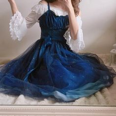 {Normal Version}Galaxy Blue/Black Starry Fairy Dress Cute and chic teens fashion outfits ideas Lolita Fashion, Look Fashion, Korean Fashion, Fashion Design, Witch Fashion, Kawaii Fashion, Pretty Outfits, Pretty Dresses, Beautiful Dresses