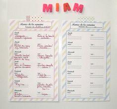 Planning pour les menus de la semaine à imprimer - Gabulle in wonderland