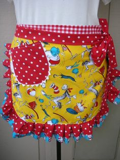 Women's half apron featuring the Cat in the Hat