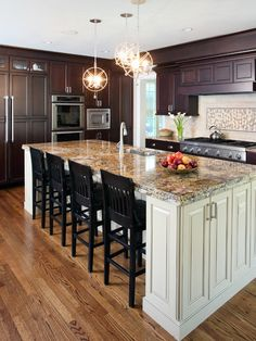 granite, island end - cabinets are nice, but I would like bookshelf at one end.
