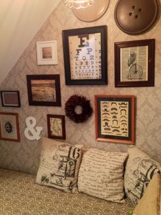 Under the Stairs Book Nook - We turned an under utilized storage space under our basement staircase into a cozy reading nook. Here's a photo… Basement Staircase, Steam Bending Wood, Brick Accent Walls, Skull Decor, Book Nooks, Reading Nooks, Brick And Stone, Under Stairs, Front Door Decor