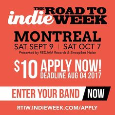 Road to Indie Week seeking Quebec ArtistsApply at http://ift.tt/2rwiVJx . . . . #indieweek #iwcan2017 #rtiw2017 #montreal #quebec #music #festival #apply #enteryourband #rtiw #musicfestival #band #live #gig