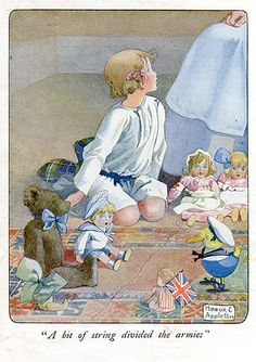 """""""a bit of string divided the armies."""" Honor Charlotte Appleton (1879 - 1951) was born in Brighton on February 4, 1879. She illustrated over 150 books. Honor Appleton developed a very delicate watercolor style that captured the innocent world of children, their adventures and life. She was influenced by illustrators such as Kate Greenaway, Annie French and other illustrators of the time. Her work is exhibited at the Hove Public Library in 1952."""