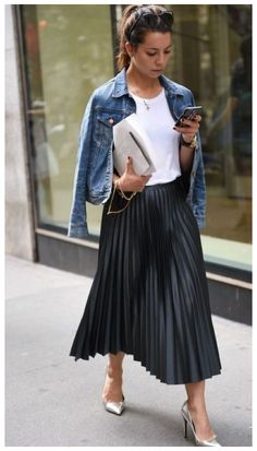 Pleated Skirt Outfit, Black Dress Outfits, Summer Dress Outfits, Fall Fashion Outfits, Mode Outfits, Cute Casual Outfits, Skirt Outfits, Spring Outfits, Casual Dresses