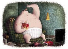 Piotr Socha Illustration Childrens Books, Fairy Tales, Concept Art, Dinosaur Stuffed Animal, Illustration Art, Christmas Ornaments, Holiday Decor, Naive, Portugal