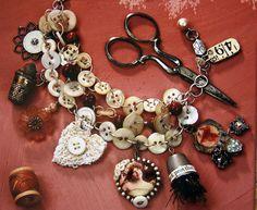 vintage style button bracelet