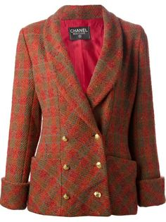 Chanel Vintage Jacket form A.N.G.E.L.O. Vintage Palace Red wool double breasted tartan jacket from Chanel Vintage featuring a shawl collar, a double breasted front fastening, patch pockets, long ...