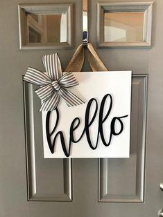 Front Door Sign Wood Door Hanger Door Decoration Front Door Decor Square Sign Black And White D Fro Home Crafts, Home Projects, Diy Home Decor, Room Decor, Wall Decor, Wall Art, Nursery Decor, Diy Crafts, Front Door Signs