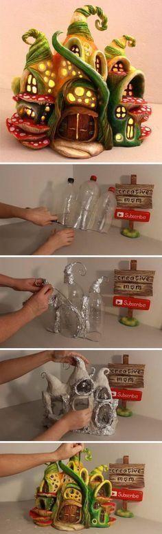 DIY Enchanted Fairy House Lamp Using Coke Plastic Bottles. #fairygardening