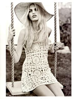 I want this crochet dress by H & M, in the Spring/Summer 2012 catalogue.  Model: Daphne Groeneveld.