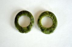 Green Jasper Stone Beads Gemstone Large Flat Oval by TheBeadBandit, $2.99